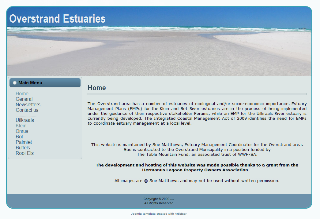 Overstrand Estuaries website